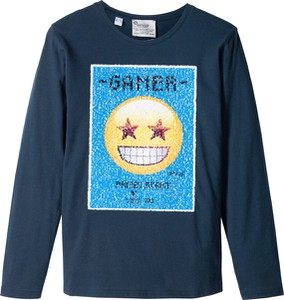 Niebieska koszulka dziecięca bonprix emoji