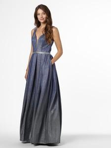 Niebieska sukienka Mascara rozkloszowana maxi