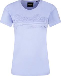 Niebieski t-shirt Superdry z krótkim rękawem