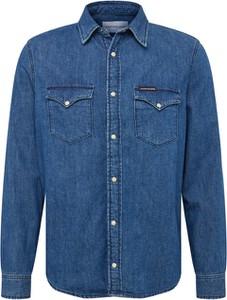 Niebieska koszula Calvin Klein z jeansu z klasycznym kołnierzykiem