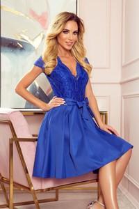 Niebieska sukienka NUMOCO z dekoltem w kształcie litery v bez rękawów