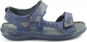 Granatowe buty letnie męskie butyolivier.pl w stylu casual ze skóry na rzepy
