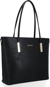 Czarna torebka Bee Bag w stylu glamour na ramię ze skóry