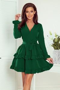 Zielona sukienka Merg z długim rękawem z dekoltem w kształcie litery v mini