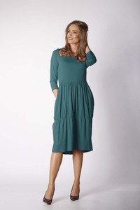 Zielona sukienka Nommo z bawełny midi bombka