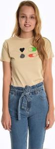 T-shirt Gate w stylu casual z krótkim rękawem z okrągłym dekoltem