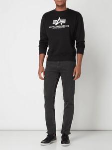 Czarna bluza Alpha Industries w młodzieżowym stylu z bawełny z nadrukiem