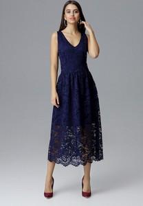 Granatowa sukienka Figl z dekoltem w kształcie litery v