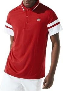 Czerwony t-shirt Lacoste w stylu casual