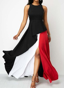 Sukienka Cikelly z okrągłym dekoltem asymetryczna bez rękawów