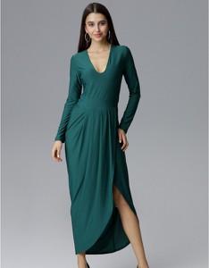 Sukienka Figl z długim rękawem midi z dekoltem w kształcie litery v