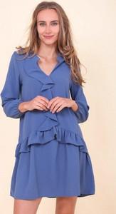 Niebieska sukienka Royalfashion.pl z długim rękawem mini