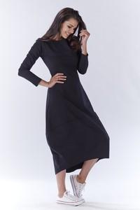 Granatowa sukienka Awama z dresówki z długim rękawem maxi
