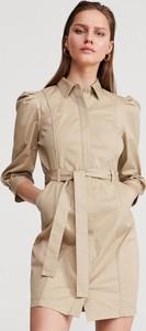 Sukienka Reserved z bawełny z kołnierzykiem z długim rękawem