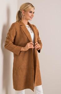 Brązowy płaszcz Sheandher.pl z zamszu