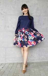 Granatowa sukienka Sklepfilloo z okrągłym dekoltem mini w stylu casual