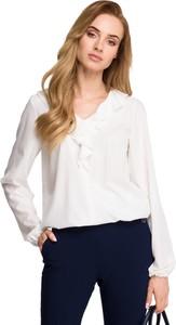 Bluzka Style z długim rękawem z tkaniny z żabotem