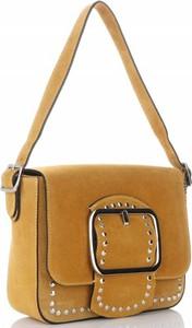 Żółta torebka VITTORIA GOTTI ze skóry w stylu casual z aplikacjami