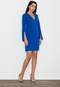 Niebieska sukienka Figl z długim rękawem mini w stylu casual