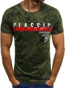 T-shirt ozonee.pl z krótkim rękawem z bawełny w militarnym stylu