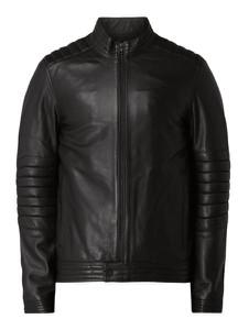 Czarna kurtka Calvin Klein ze skóry w stylu casual