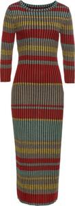 Sukienka bonprix BODYFLIRT boutique z dzianiny midi z długim rękawem