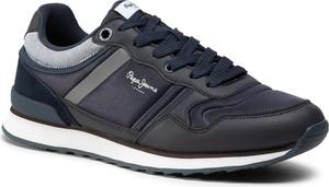 Granatowe buty sportowe Pepe Jeans ze skóry
