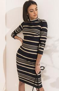 Granatowa sukienka SELFIEROOM mini w stylu casual dopasowana