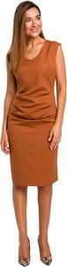 Pomarańczowa sukienka Style z dekoltem w kształcie litery v z długim rękawem midi