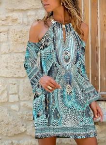 Niebieska sukienka Cikelly z długim rękawem w stylu casual mini