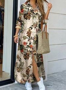 Sukienka Cikelly z długim rękawem koszulowa z dekoltem w kształcie litery v
