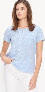 Niebieska bluzka House z okrągłym dekoltem w stylu casual