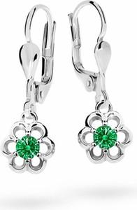 Cutie jewellery kolczyki dziecięce cutie kwiatki c1947 białego, emerald green, zapięcie patentowe