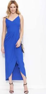 Niebieska sukienka Makadamia maxi asymetryczna