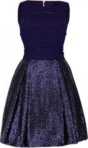 Granatowa sukienka Camill Fashion z okrągłym dekoltem w stylu glamour bez rękawów