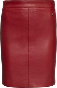 Czerwona spódnica Pepe Jeans ze skóry