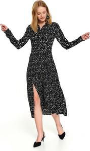 Czarna sukienka Top Secret z kołnierzykiem w stylu casual midi