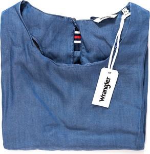 Niebieska bluzka Wrangler z okrągłym dekoltem ze skóry ekologicznej z krótkim rękawem