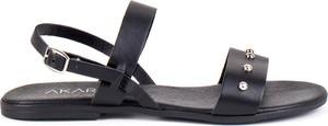 Czarne sandały AKARDO ze skóry w stylu casual