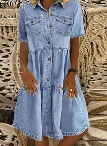 Niebieska sukienka Cikelly z kołnierzykiem z długim rękawem oversize