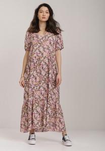 Sukienka Renee maxi z krótkim rękawem z szyfonu