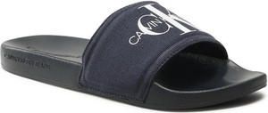 Czarne klapki Calvin Klein w stylu casual z płaską podeszwą