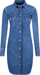 Niebieska sukienka Calvin Klein w stylu casual z długim rękawem koszulowa