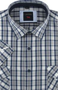 Koszula Laviino z krótkim rękawem z tkaniny z klasycznym kołnierzykiem