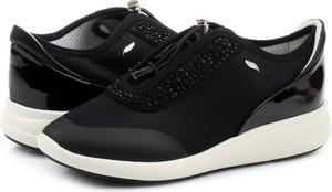 Czarne buty sportowe Geox w sportowym stylu na platformie sznurowane