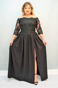 Sukienka KARKO maxi z tiulu z dekoltem w łódkę