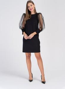 Czarna sukienka Cotton Club z tiulu z długim rękawem mini