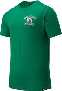 Zielony t-shirt New Balance w sportowym stylu z krótkim rękawem