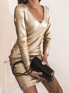 Złota sukienka SELFIEROOM mini z długim rękawem z dekoltem w kształcie litery v