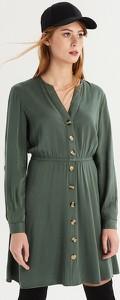 Zielona sukienka Sinsay midi koszulowa z długim rękawem